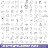 100 internet marketing icons set, outline style. 100 internet marketing icons set in outline style for any design vector illustration Royalty Free Stock Photography