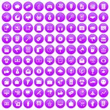 100 internet marketing icons set purple. 100 internet marketing icons set in purple circle isolated on white vector illustration Royalty Free Stock Image