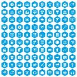100 Internet-Marketing-Ikonen blau eingestellt Lizenzfreie Stockfotografie