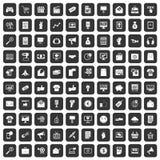 100 Internet-Marketing-Ikonen schwarz eingestellt Stockbild