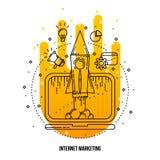 Internet marketing illustration. Vector outline flat background . Stock Images