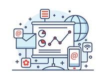 Internet marketing line style vector illustration