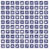 100 Internet-marketing pictogrammen geplaatst grunge saffier Stock Foto's