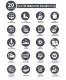Internet-Marketing pictogrammen, Grijze versie Stock Fotografie