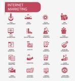 Internet-Marketing pictogrammen, Rode versie Royalty-vrije Stock Afbeelding