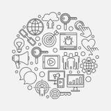 Internet marketing round illustration Stock Photo