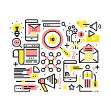 Internet marketing and SEO concept. Search engine and website optimization collage. Modern thin line art icons background. Linear style illustrations isolated Royalty Free Stock Photography