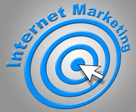 Internet Marketing Shows World Wide Web And Advertising Stock Images