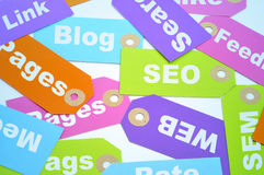 Internet marketing and website ranking. Paper labels of different colors with different words about internet marketing and website ranking, such as SEO and SEM Stock Image