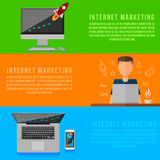Internet marketing working place . Vector gadgets Royalty Free Stock Images