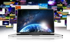 Internet Media Download. And Sharing. Photos and Images Sharing and Download Abstract Concept Illustration Stock Photo