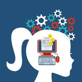 Internet media icon and human head design. Vector graphic Royalty Free Stock Images