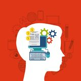 Internet media icon and human head design. Vector graphic Royalty Free Stock Photography