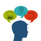 Internet media icon and human head design. Vector graphic Royalty Free Stock Photos