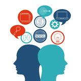 Internet media icon and human head design. Vector graphic Stock Image