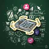 Internet media with icons on blackboard. Vector illustration Royalty Free Stock Image