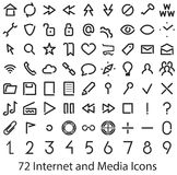Internet and Media user interface icons set. Royalty Free Stock Photos