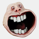 Internet meme Surprised Forever Alone Guy. Rage face. 3D illustration. Internet meme Surprised Forever Alone Guy. Rage face. 3D rendering.  on white Royalty Free Stock Image