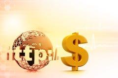 Internet mit US-Dollar Symbol stock abbildung
