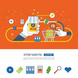 Internet and mobile marketing concept.  Online shopping. Investment business. Royalty Free Stock Photo
