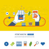 Internet and mobile marketing concept.  Online shopping. Investment business. Stock Image