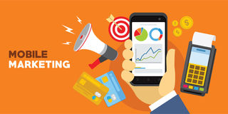 Internet mobile marketing concept with smartphone Royalty Free Stock Photos
