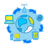 Internet molecule with cycle communication Royalty Free Stock Photo