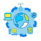 Internet-Molekül mit Schleifekommunikation Lizenzfreie Abbildung