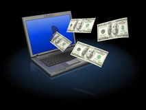 Internet money. Abstract 3d illustration of laptop computer with flying money Stock Image