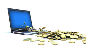 Internet Money - Gold Coins. Gold coins pouring out of a laptop screen Stock Photography