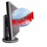 Internet monitor. High resolution concept image with a globe coming out of a monitor. Good for web, internet, computer and communication themes. Isolated on Royalty Free Stock Image