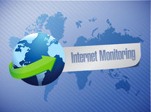 Internet monitor concept and globe. Stock Photo
