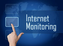 Internet Monitoring. Concept with interface and world map on blue background Stock Image