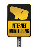 Internet monitoring road sign illustration Stock Images