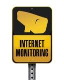 Internet monitoring road sign illustration. Design over a white background Stock Images