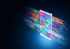 Internet multimedia on smart phone stock image