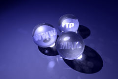 Internet murmurs. Rendered glassy spheres with internet buzzwords Stock Images
