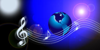 Internet music world notes Royalty Free Stock Photos