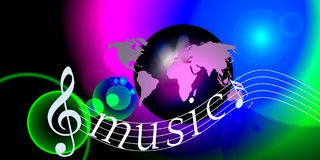 Internet music world notes Royalty Free Stock Images