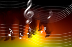 Internet music world notes. An image showing a musical dawn with musical notes over the top with four people playing music, internet music world Royalty Free Stock Photos