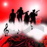 Internet music world notes. An image showing a musical dawn with musical notes over the top with four people playing music, internet music world Stock Image