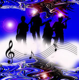 Internet music world notes. An image showing a musical dawn with musical notes over the top with four people playing music, internet music world Stock Images