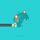 Internet navigation concept. Hand holding magnifying glass, world map with location target markers. Flat  illustration Royalty Free Stock Images