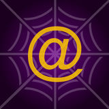 Internet net vector concept. Background with mail at symbol and spider net as concept for internet Stock Images