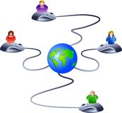 Internet network. Network of business people logging onto the world wide web - icon people series