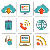Internet network communication mobile devices line Stock Photo