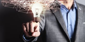 Internet network with creative light bulb. Business technology concept stock illustration