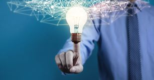 Internet network with creative light bulb. Business technology concept royalty free illustration