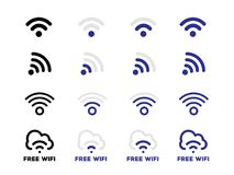 Internet network free Wifi connection icon set. In vector format Stock Image