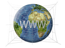 Internet network on globe Stock Photography